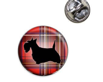 Scottie Dog On Red Plaid Scottish Terrier Lapel Hat Tie Pin Tack