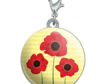 Red Poppies Flower Stainless Steel Pet Dog Id Tag