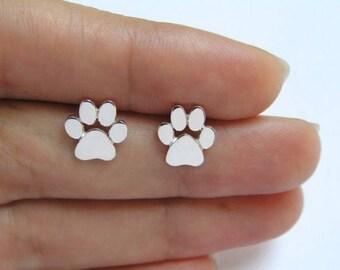 Paw Print Stud Earrings, Cat Jewelry, Dog Jewelry, Paw Prints Studs, Paw Print Jewelry, Silver Paw Print Earrings, Pet Lover Gift