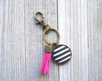 Black and White Stripe Purse Charm-Pink Tassel-Black and White Keychain-Bronze Keychain Purse Charm-Purse Jewelry-Purse Accessories-Keychain