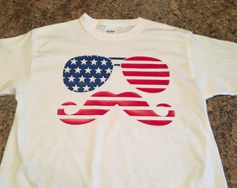 Red, white, blue American flag sunglasses mustache tshirt