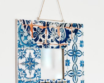 Azulejos Hanging Mirror. Wooden frame covered with photo transfer of portuguese tiles.