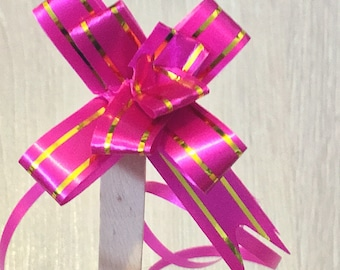 1000 - Small Gold Pink Ribbon // Pull Bow for Crafts, Wedding, Party or Event // KL