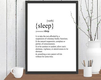 Sleep Dictionary Definition Quote Print, Wall Art, Room Decor, Modern, Poster A4 A3 A2 8x10 11x14 12x18 16x20