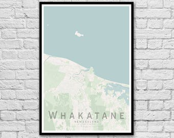 WHAKATANE New Zealand City Street Map Print   Beach House Print   Wall Art Poster   Anniversary Gift   Travel Print   Wall decor   A3 A2