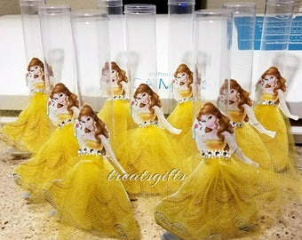 Princess belle birthday - Princess belle candy wands - beauty and the beast birthday - Beauty and the beast party - Princess Belle party