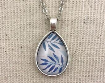 Blue Leaf Pink Necklace Antique Silver