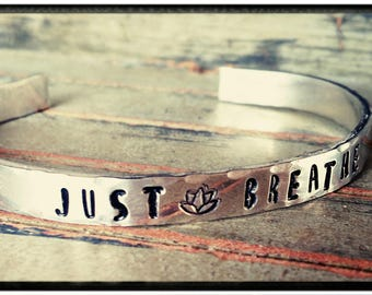 Just Breathe - Pewter -Hammered- Cuff Bracelet - Hand Stamped//Lotus Flower//Solid Pewter - Silver Bracelet - Friend/Family/Wedding Jewelry