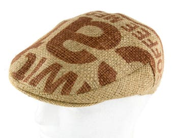 "Upcycling flat Cap Flatcap ""Café espresso""-subject ""Caffex"" (size: 61 cm)"