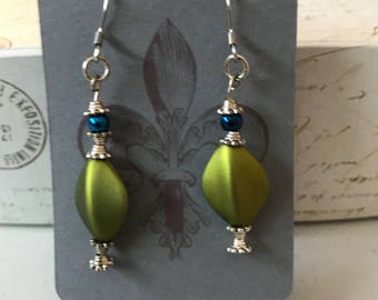 Olive green dangle earrigs with blue pearls