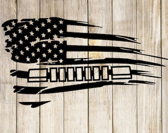 distressed jeep cherokee Amercian flag decal