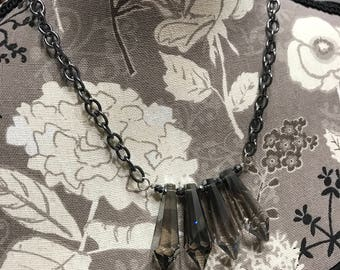 Gun metal smokey grey crystal necklace