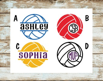 Volleyball Decal Sticker | Volleyball Name Decal | Volleyball Monogram Decal | Yeti Decal | Car Decal | Laptop Decal