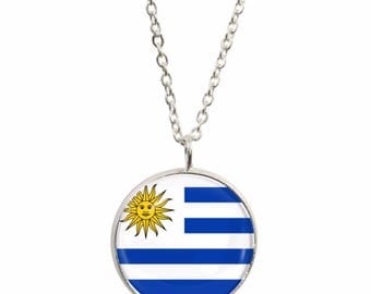 Uruguay Pendant and Silver Plated Necklace