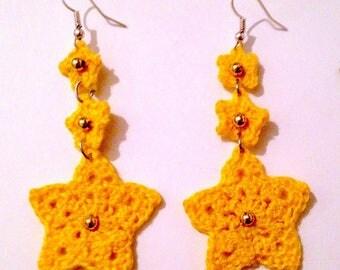 Crochet earrings with yellow stars