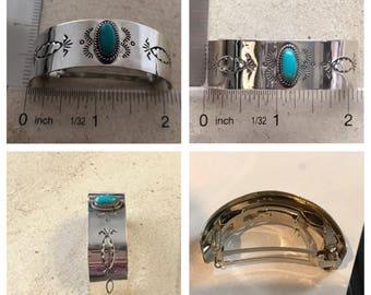 Sterling silver kingman turquoise barette
