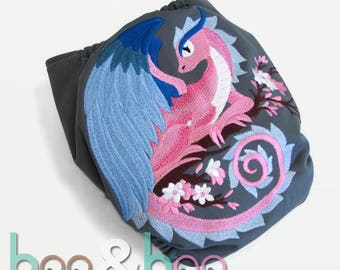 One size All In One bamboo diaper Spring dragon