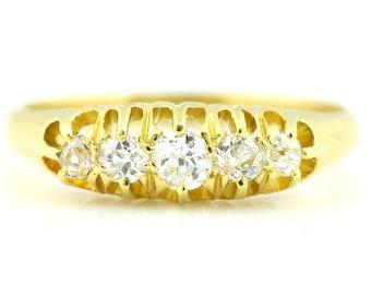 English 18ct Gold Antique 5 Stone Diamond Ring c.1918