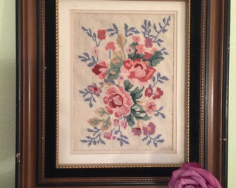 Vintage Framed Petit Point Floral Embroidery, Vintage Framed Tapestry/Floral Design/Needlepoint Flowers