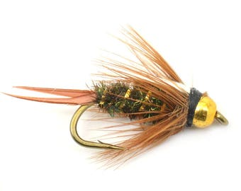 Bead Head Prince Nymph Fly - Trout and Panfish Fly Fishing Flies - Hook Size 14 - Hand Tied Trout Flies