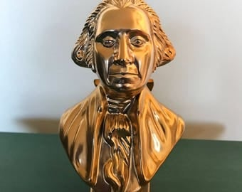 """PRESIDENT GEORGE WASHINGTON* Empty Wild Country After Shave Golden Bust/Decanter  * 6 oz. 7"""" Tall **1979"""
