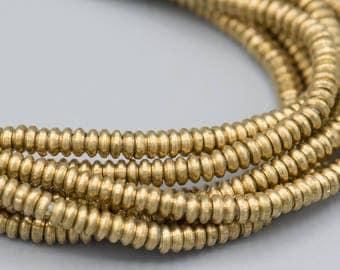 400 - 3x1mm Heishi Matte Brass Metal Spacer Beads - jewelry supply