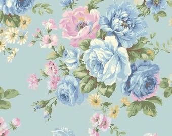 Shabby Chic Blue Rose Cotton Fabric