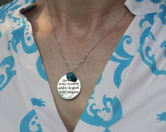 Atheist Humanist Secular Thomas Paine quote pendant necklace