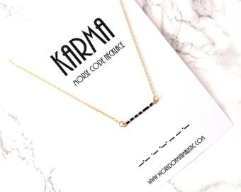 KARMA morse code necklace, make a wish minimalist necklace, bar morse code jewelry, dainty delicate karma jewelry, simple beaded necklace