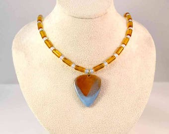 Handmade Enamel Guitar Pick Pendant and Beaded Necklace - Moonstone - Amber - Sky Blue - Music - One-of-a-Kind - Unisex Gifts - Christmas