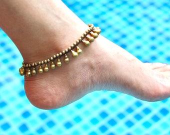 Brass Bells Anklet, Boho Anklet,Gold anklet,Beaded Anklet, A34
