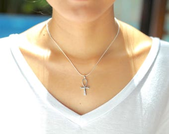 Ankh Cross Silver Pendant, Breath Of Life Silver Necklace, Bohemian Jewelry, Simple Neck Charm, Silver Pendant, Minimalist Necklace, P70