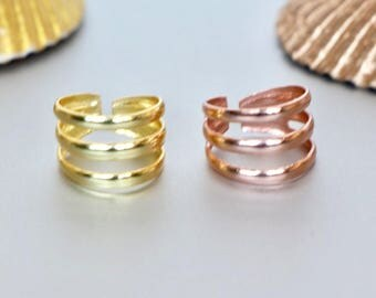 Toe Rings Set, Gold And Rose Gold Toe Ring, Simple And Pretty Toe Band, Minimalist Toe Ring, Boho Style Gift For Her, (TS27P/G)
