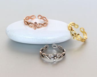 Toe Rings Set, Silver Gold And Rose Gold Toe Ring, Flower Toe Band, Foot Accessories,Boho Style Gift For Her, (TS32GP/45)