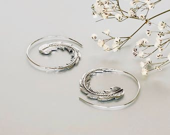 Sterling Silver Spiral Hoops, Egyptian Ear Hoops, Ethnic Piercing Hoops, Silver Hoops, Minimalist Hoops, Gift Earrings, (E165)