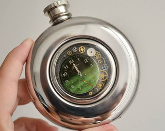 Original Hip Flask, Steampunk Flask, Vintage Hip Flask, Gift Mens, Steampunk Hip Flask, Stainless Steel, Gift, steampunk for men