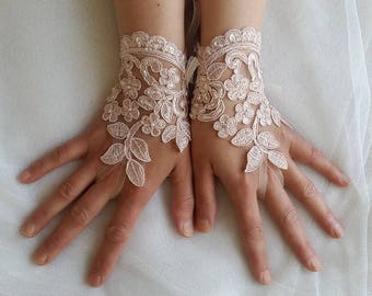 french lace,  pink lace beads, sequin, wedding gloves, costume gloves,bridal gloves, free shipping!