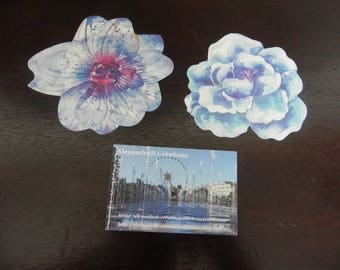 Postcards with minimum flowers 9 cm x 7 cm