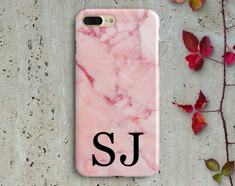 Personalised Initials Marble iPhone X iPhone 8 Plus iPhone 8 7 6s 6 Plus 5S SE Personalized Samsung Galaxy S8 Plus S7 S6 S5 J1 J2 J3 J5 J7
