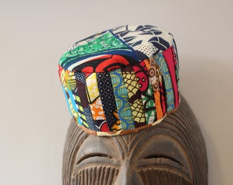 African Hat - Fatou Hat - Patchwork Hat - African Cap - African Accessories - Top Hat - Bucket Hat - Winter Scarf - Colourful Hat