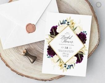 Bridal Shower Invitation, Watercolor Bridal Shower Invitation, Floral Bridal Shower Invitation, Bridal Brunch, Calligraphy Invitation, #PNG
