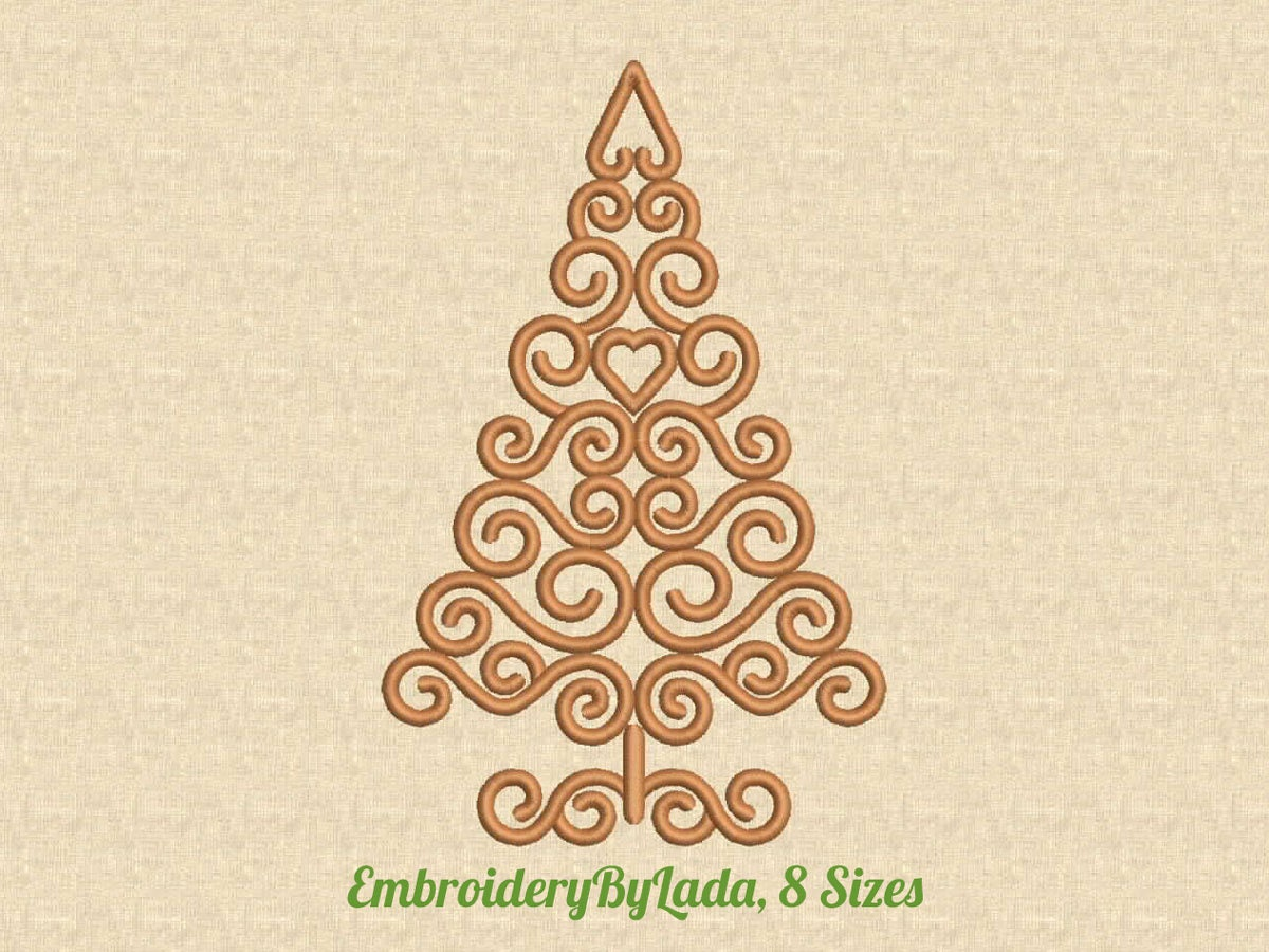 Swirly christmas tree embroidery design christmas machine this is a digital file bankloansurffo Choice Image