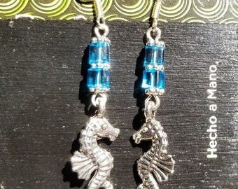 Seahorse, Dangle Earrings, Blue Glass, Cube, Silver Tone