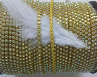Sunshine Yellow Plastic SS8 Banding/Trim with Crystal AB Stones