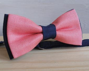 Men's Bow Tie in Coral and Navy  Groomsmen Bowtie Linen Bow Tie Bowtie Coral Wedding  Blue Bow Tie