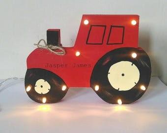 Handmade wooden night light tractor , children's decor, wooden tractor, nursery decor, personalised wooden tractor