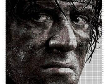 John Rambo movie cross stitch pattern in pdf