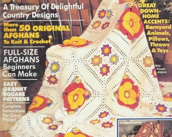 Vintage 'Country Afghans 85' crochet pattern magazine in pdf