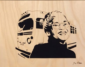 "Rosa Parks Portrait, ""Inspiration"" Portrait by Jay Roberts, Civil Rights Portrait, Black Art, African American Art, Black History, Wood Art"
