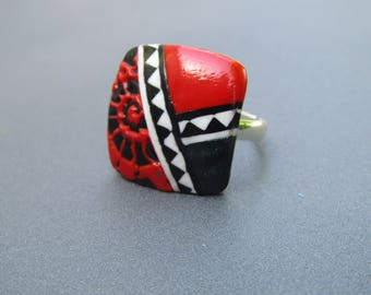 Red and black polymer clay ring
